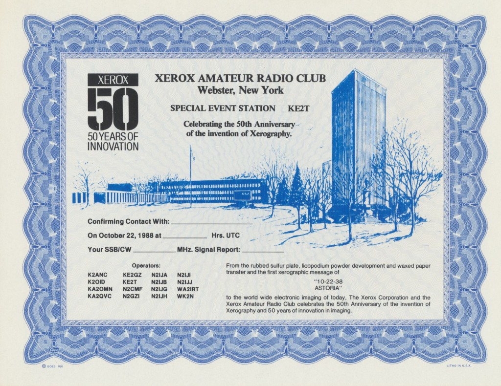 50th Anniversary of Xerography Special Event certificate